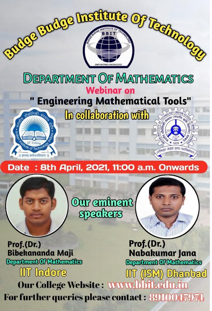 Webinar on Engineering Mathematical Tools on 08.04.2021